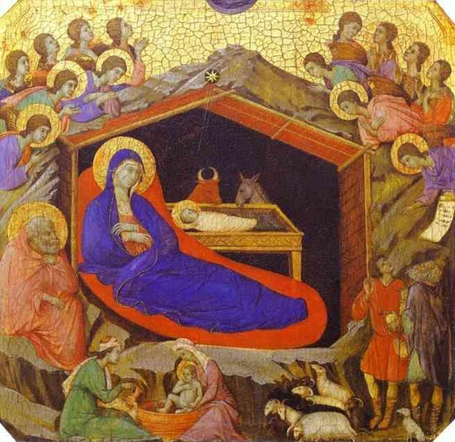 Duccio di Buoninsegna. Maestà (front, predella) The Birth of Christ.