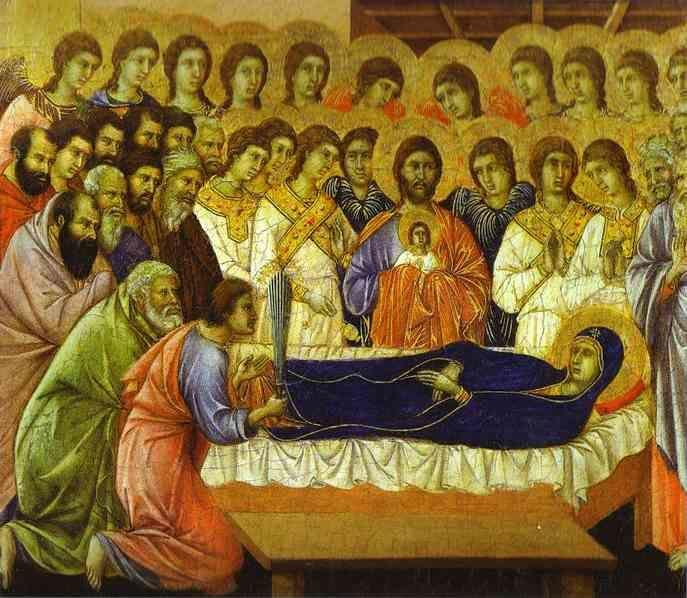 Duccio di Buoninsegna. Maestà (front, crowning panels) The Death of the Virgin.