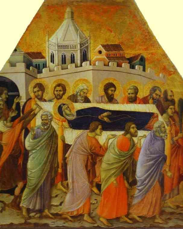 Duccio di Buoninsegna. Maestà (front, crowning panels) The Funeral Procession. Detail.