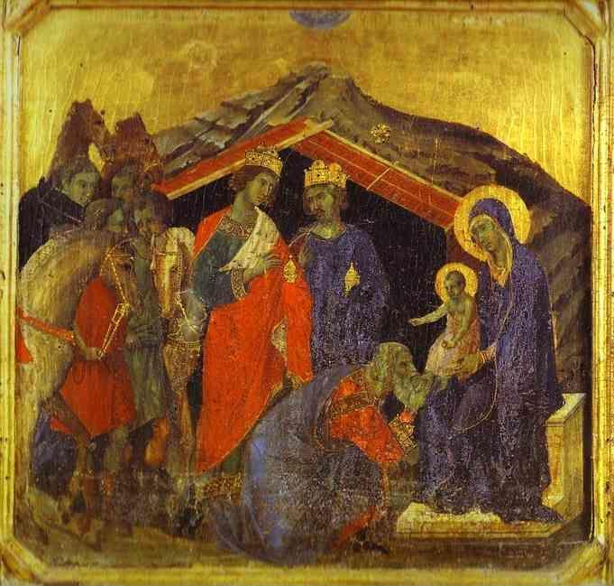 Duccio di Buoninsegna. Maestà (front, predella) The Adoration of the Magi.