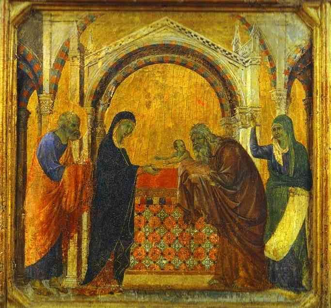Duccio di Buoninsegna. Maestà (front, predella) The Presentation in the Temple.