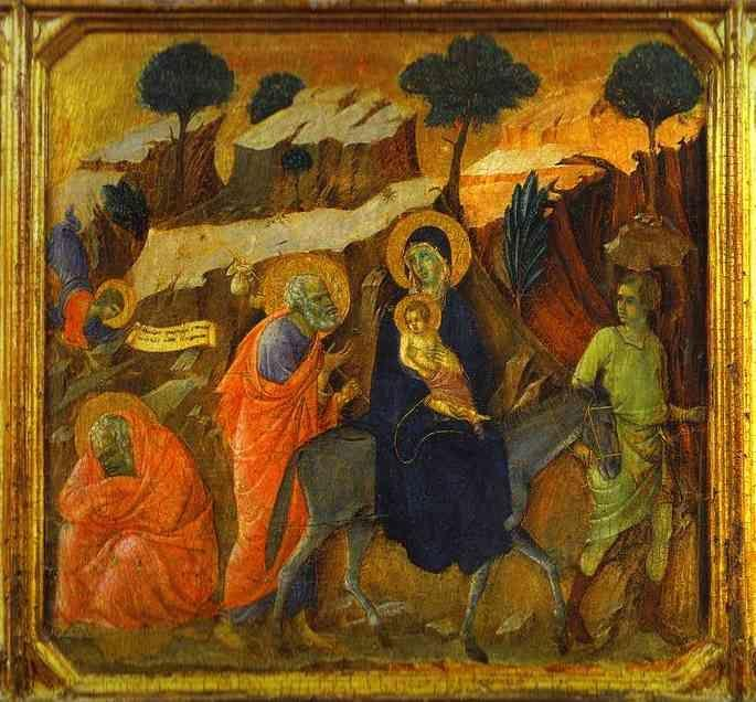 Duccio di Buoninsegna. Maestà (front, predella) The Flight into Egypt.