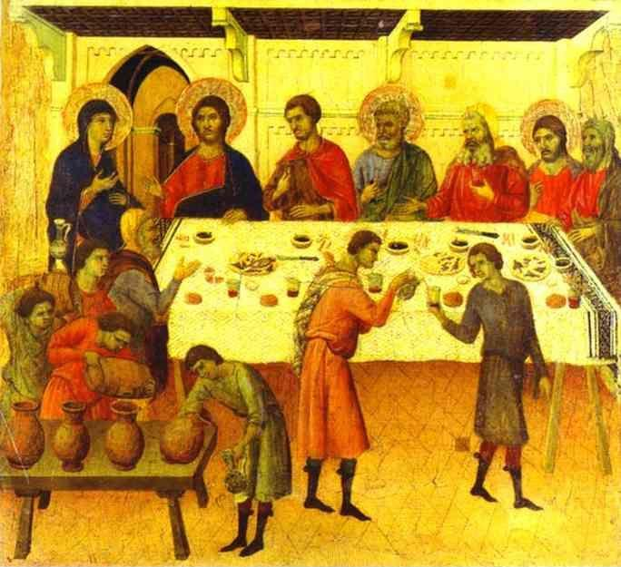 Duccio di Buoninsegna. Maestà (back, predella)The Wedding at Cana.