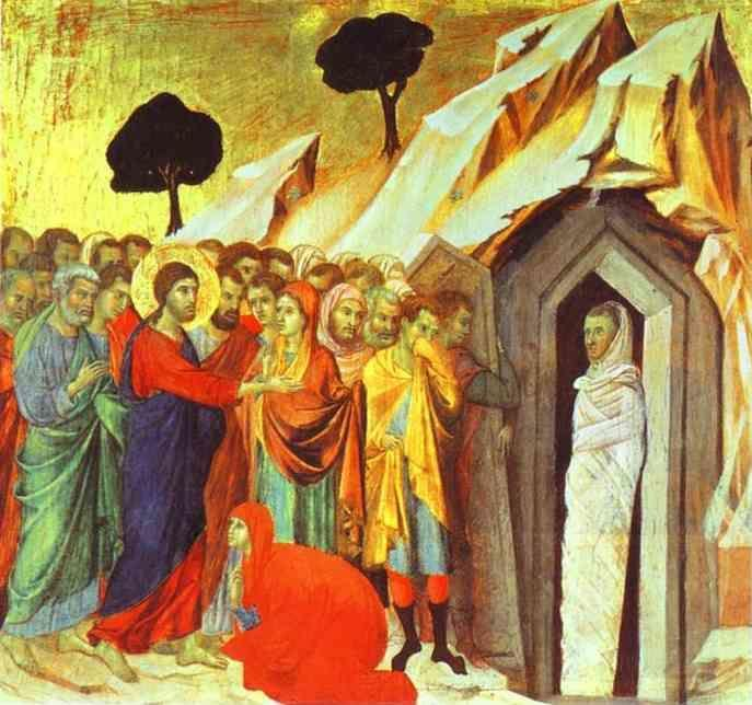 Duccio di Buoninsegna. Maestà (back, predella) The Raising of Lazarus.