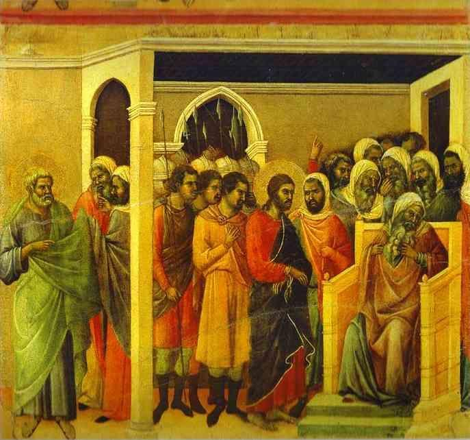 Duccio di Buoninsegna. Maestà (back, central panel) Jesus Before Caiaphas.