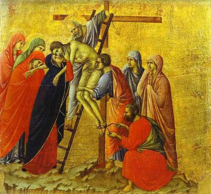 Duccio di Buoninsegna. Maestà (back, central panel) The Deposition.
