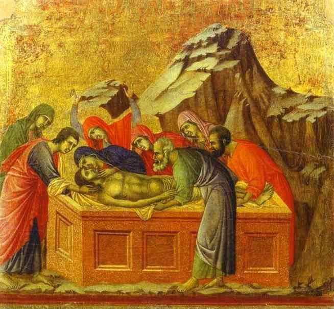 Duccio di Buoninsegna. Maestà (back, central panel) The Entombment.