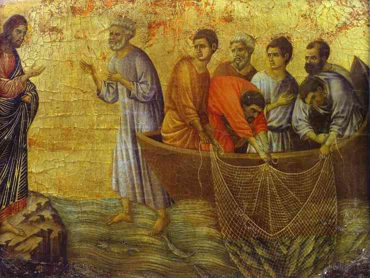 Duccio di Buoninsegna. Maestà (back, crowning panel, detail of) Christ's Appearance on Lake Tiberias.