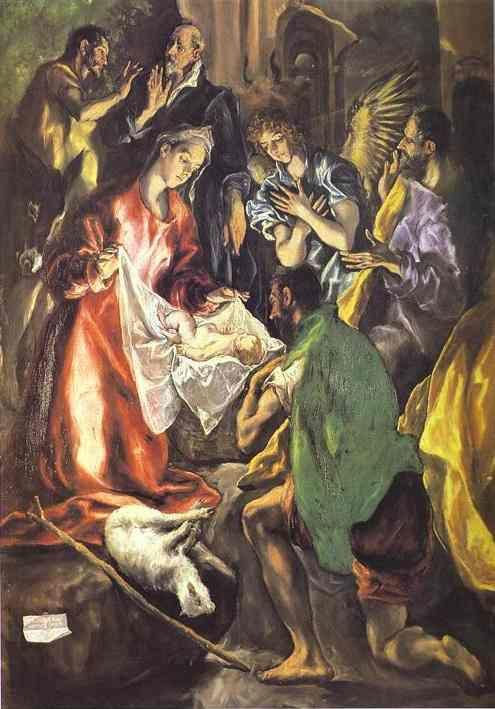 El Greco. The Adoration of the Shepherds. Detail.