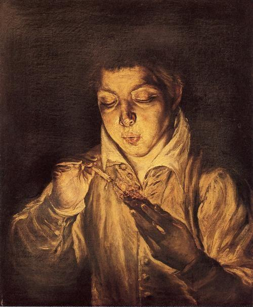 El Greco. Boy Lighting a Candle (Boy Blowing on an Ember).