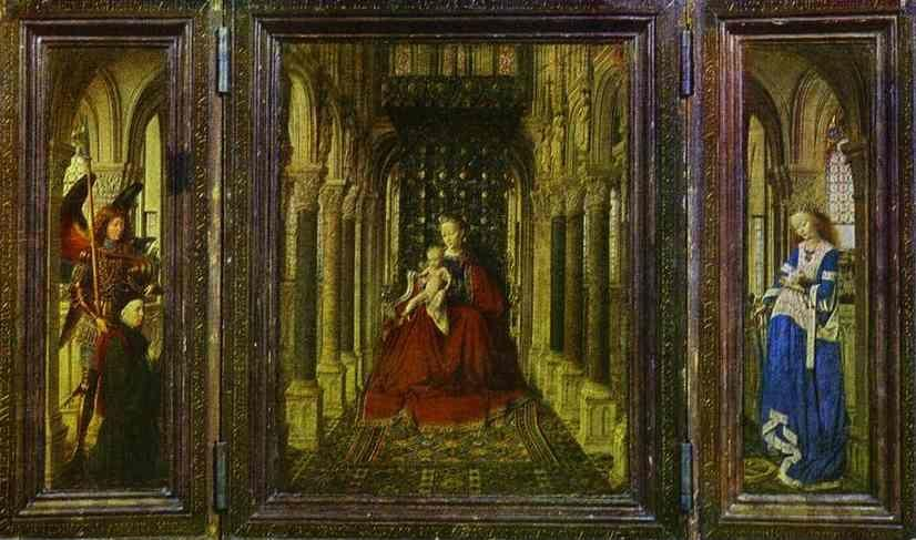 Jan van Eyck. The Virgin and Child in a Church (a portable altar).