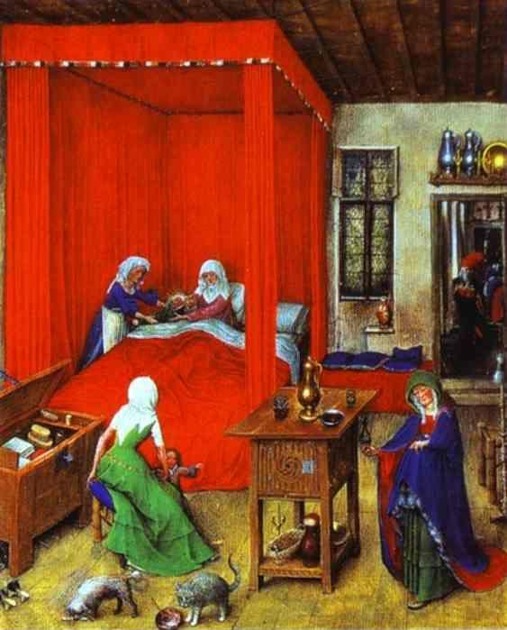 Jan van Eyck. The Birth of John the Baptist (miniature from the Très Belles Heures de Notre-Dame).