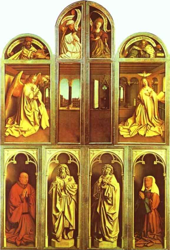 Jan van Eyck. The Ghent Altarpiece with altar wings closed.