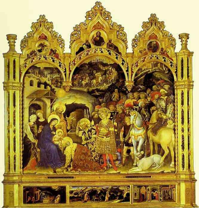 Gentile da Fabriano. Adoration of the Magi. From the Strozzi Chapel in Santa Trinita, Florence.