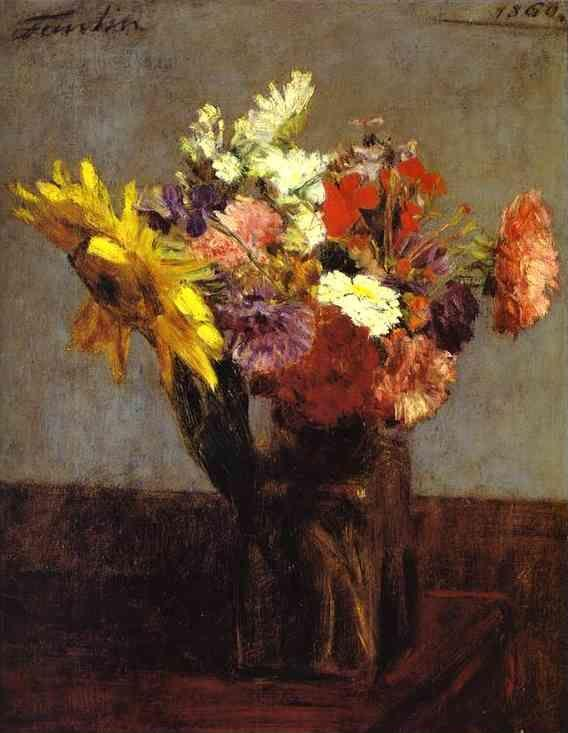 Henri Fantin-Latour. Bouquet of Flowers (Bouquet de fleurs).