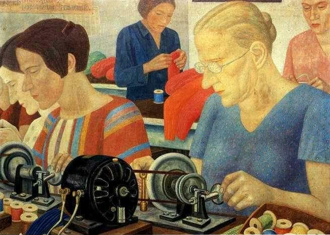 "Pavel Filonov. Udarnitzi (Record-Breaking Workers) at the Factory ""Krasnaya Zaria""."