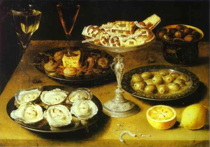 Osias Beert. Still Life with Oysters and Pastries.
