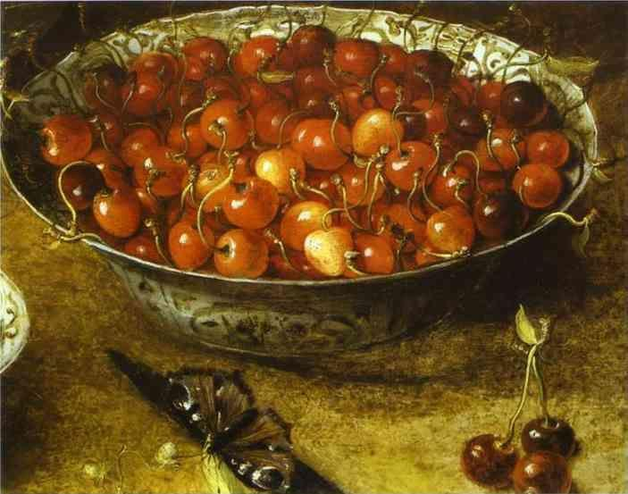 Osias Beert. Still Life with Cherries and Strawberries in Porcelain Bowls. Detail.