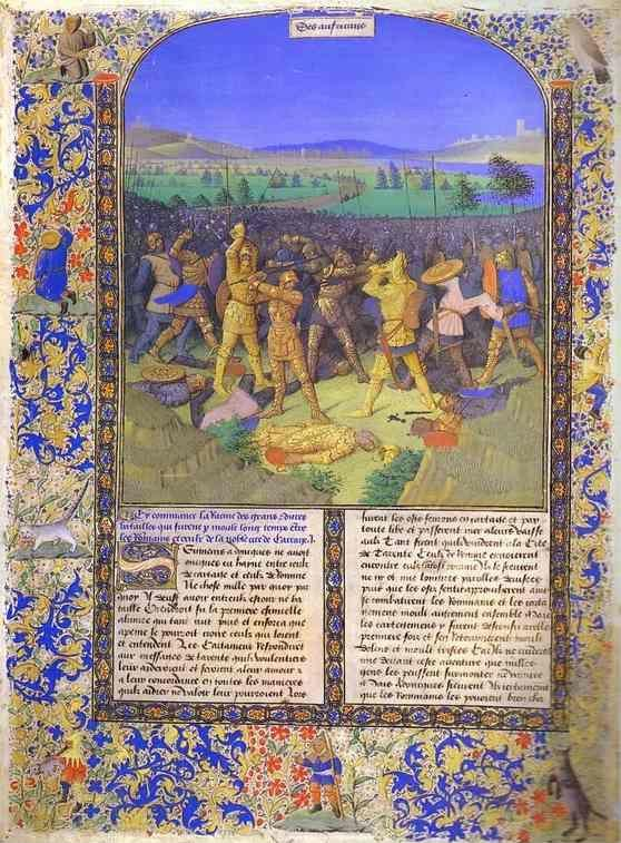 Jean Fouquet. The Battle between the Romans and the Carthaginians. From the book Histoire Ancienne.