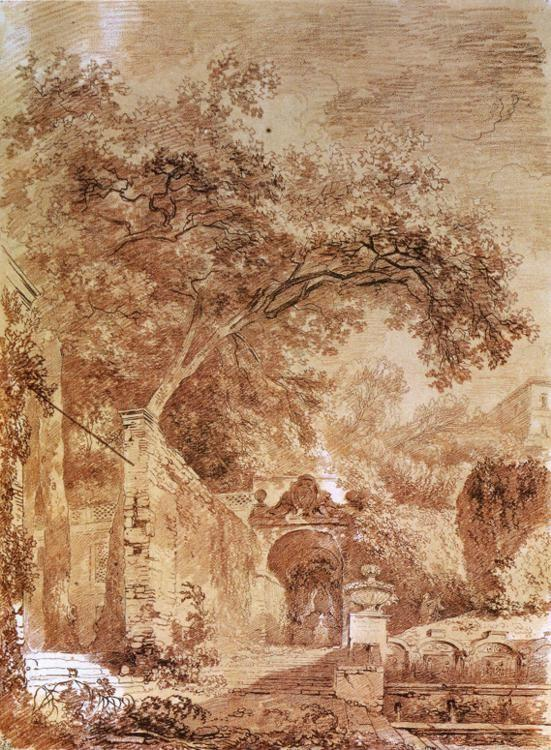 Jean-Honoré Fragonard. The Entrance to the Fountain of Pomona, Known as Fontanone, at the Villa d'Este in Tivoli.