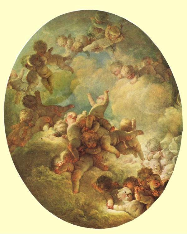 "Jean-Honoré Fragonard. Groups of Children in the Sky (""A Swarm of Cupids"")."