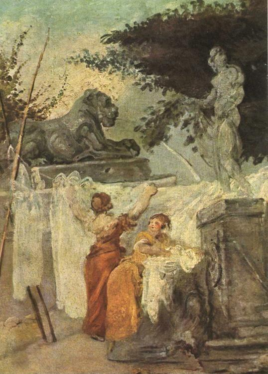Jean-Honoré Fragonard. Washerwomen. Detail.