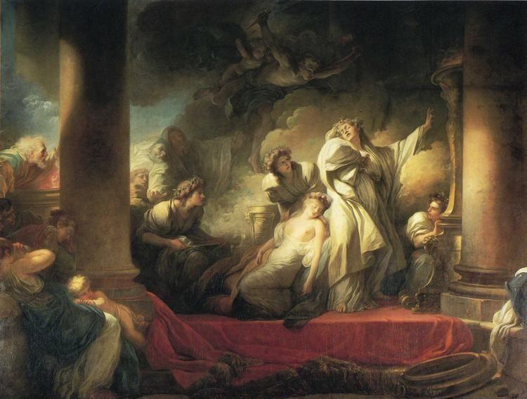 Jean-Honoré Fragonard. The High Priest Coresus Sacrifices Himself to Save Callirhoe.