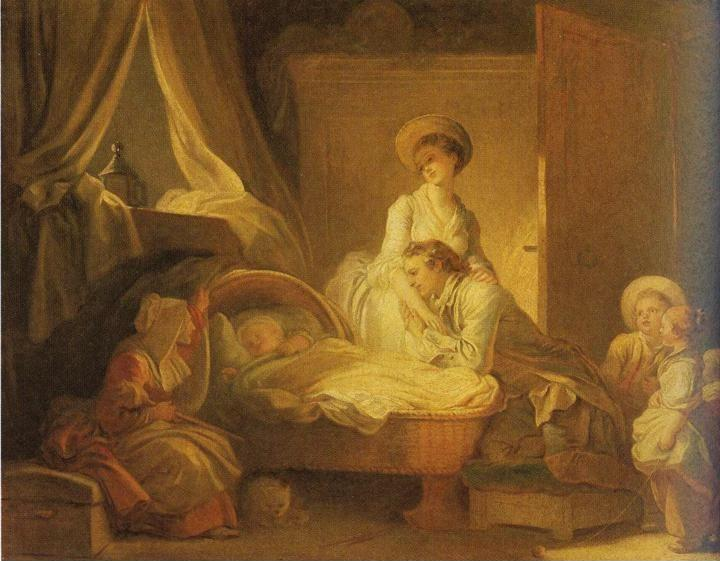 Jean-Honoré Fragonard. The Visit to the Nursery.