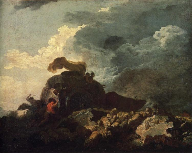 Jean-Honoré Fragonard. The Storm or The Cart Stuck in the Mire.