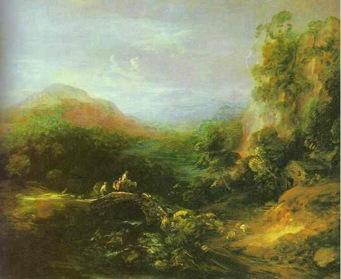 Thomas Gainsborough. Mountain Landscape with Peasants Crossing a Bridge.