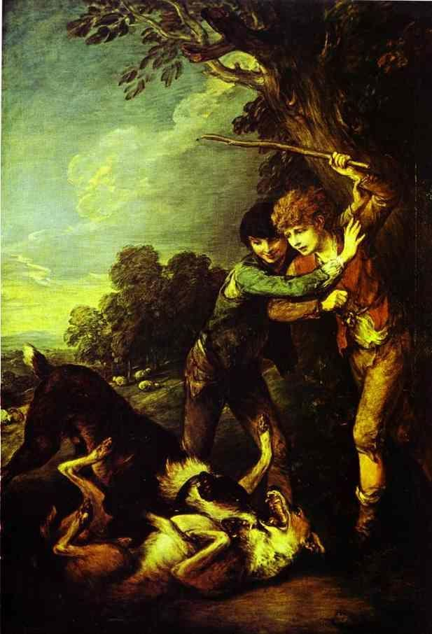 Thomas Gainsborough. Two Shepherd Boys with Dogs Fighting.