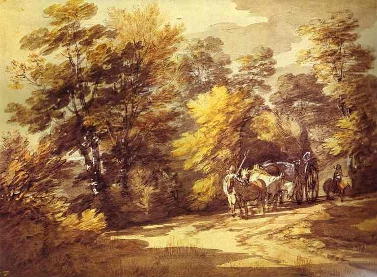 Thomas Gainsborough. Wooded Landscape with a Waggon in the Shade.