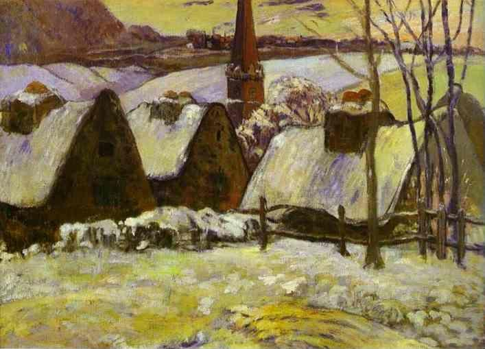 Paul Gauguin. Breton Village in Snow.