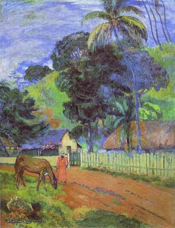 Paul Gauguin. Horse on Road. Tahitian Landscape.