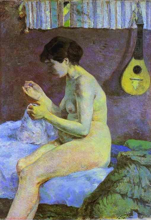 Paul Gauguin. Study of a Nude. Suzanne Sewing.
