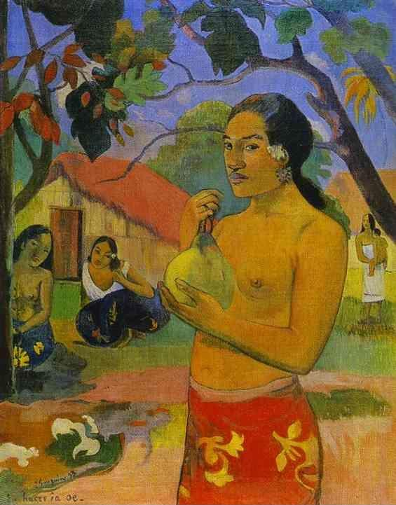 Paul Gauguin. Eü haere ia oe (Woman Holding a Fruit).