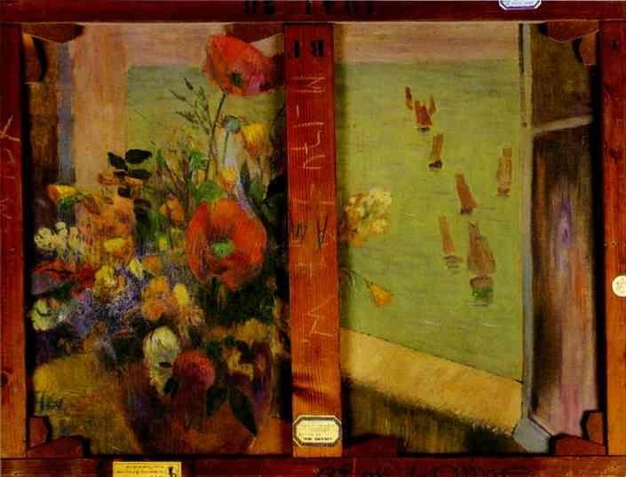Paul Gauguin. Bouquet of Flowers with a Window Open to the Sea (Reverse of Hay-Making in Brittany).