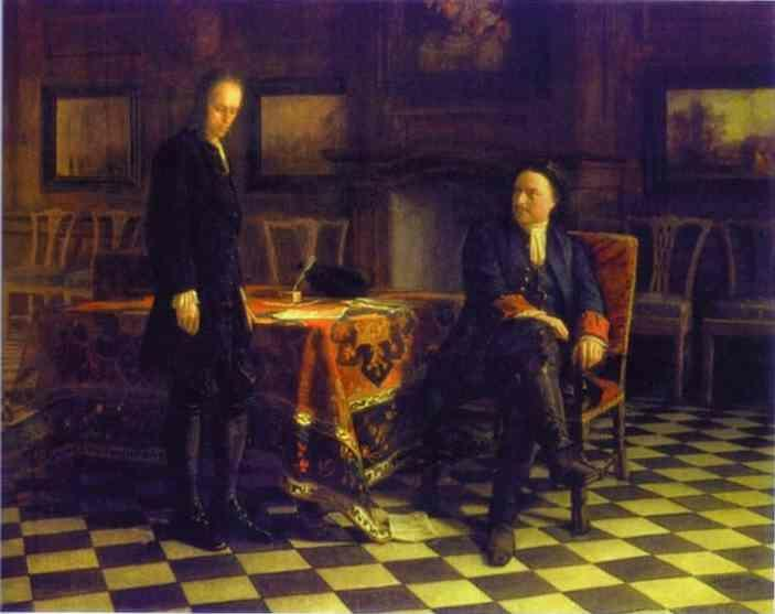 Nikolay Gay. Peter the Great Interrogating the Tsarevich Alexey Petrovich at Peterhof.