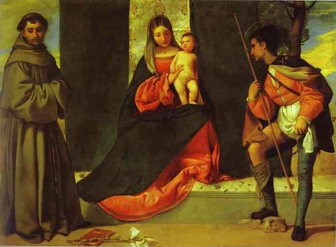 Giorgione. Madonna and Child with St. Anthony and St. Roch.