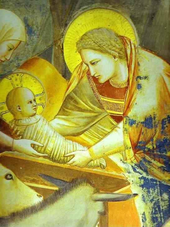 Giotto. The Nativity and Adoration of the Shepherds. Details.