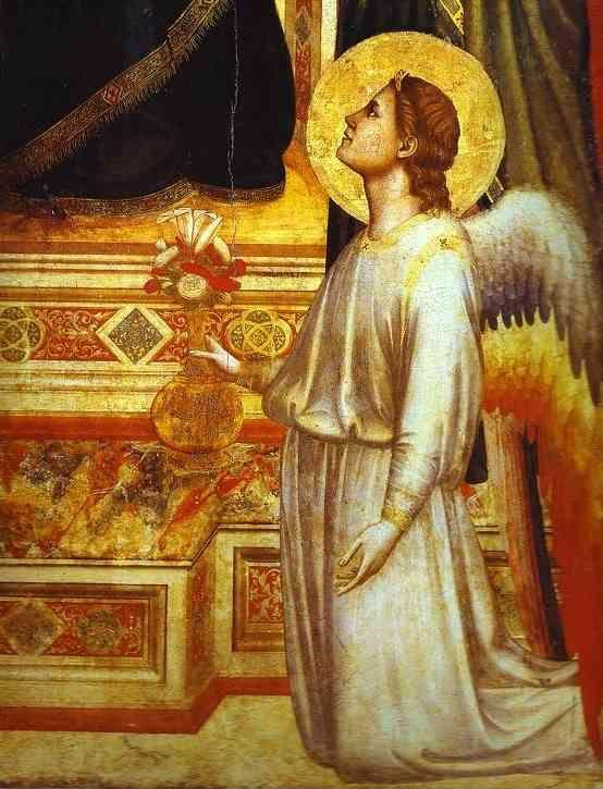 Giotto. Madonna and Child Enthroned with Saints (Ognissanti Madonna). Detail.
