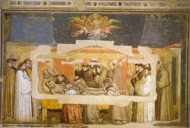 Giotto. Death of St. Francis and Inspection of Stigmata.