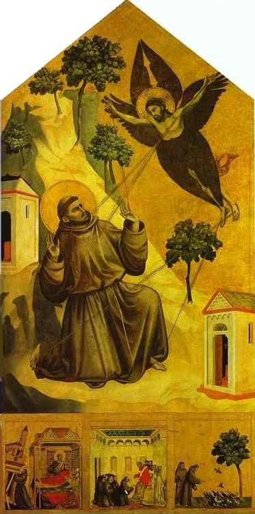Giotto. St. Francis Receiving the Stigmata with Three Scenes from His Legend: The Vision of Pope Innocent III, the Pope Receiving the Statutes of the order of St. Francis, and St. Francis Preaching to the Birds.