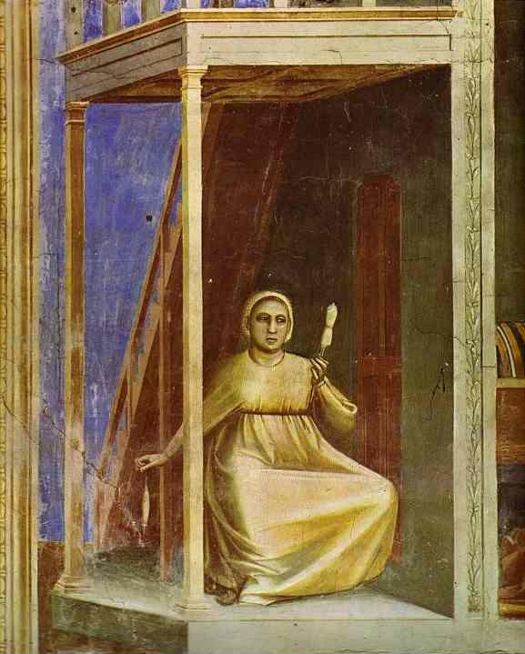 Giotto. The Angel Appearing to St. Anne. Detail.