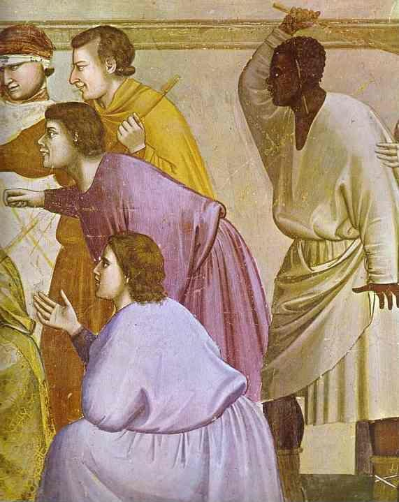 Giotto. The Mocking of Christ and Flagellation. Detail.