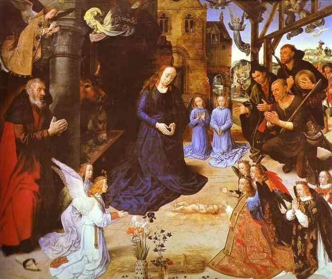 Hugo van der Goes. Adoration of the Shepherds (cenral panel of the Portinari Altar).
