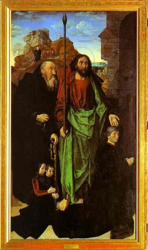 Hugo van der Goes. Tommaso Portinari with his sons and SS. Thomas and Anthony Abbot. The left panel of the Portinari Altar.