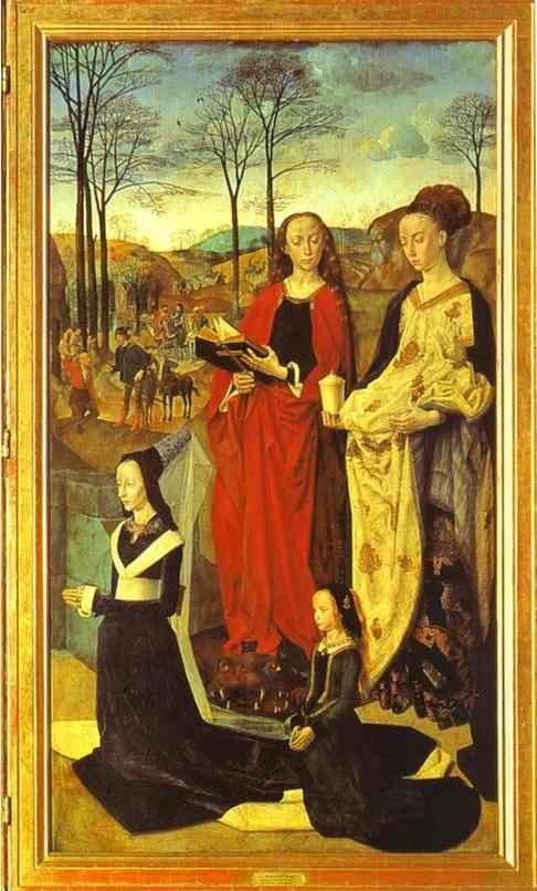Hugo van der Goes. Maria Baroncelli with Her Daughter Margarita and SS. Margaret and Mary Magdalene. The right panel of the Portinari Altar.