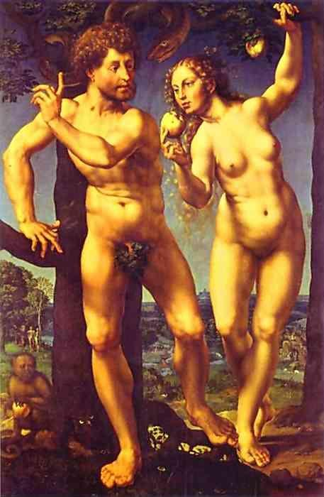 Jan Gossaert. Adam and Eve in Paradise.