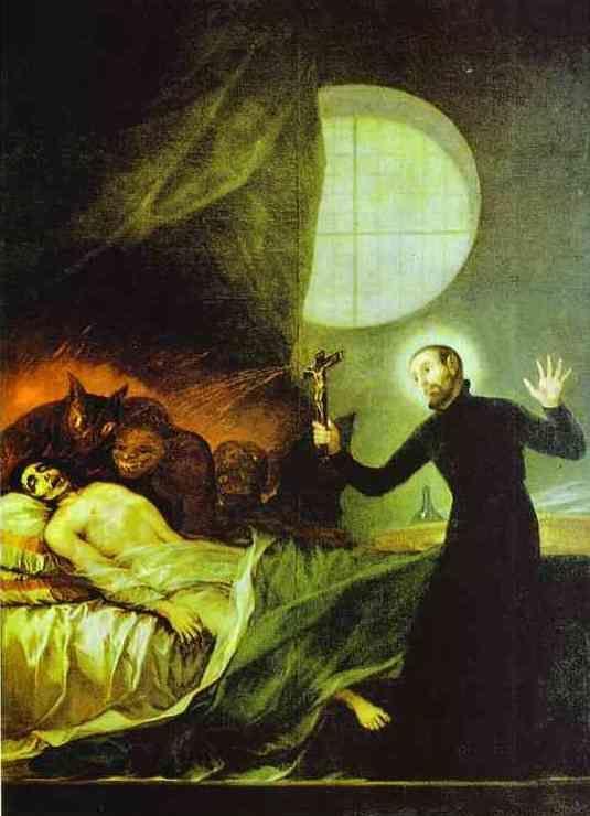 Francisco de Goya: St. Francis Borgia Exorsizing (1788). Private collection.